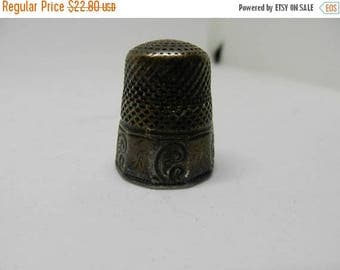Summer Sale Antique Sterling Silver Thimble Monogrammed M # 9