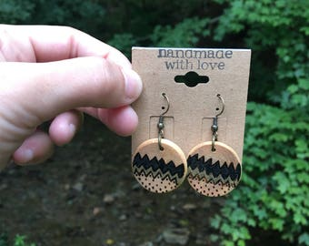 POLKAS woodburned earrings