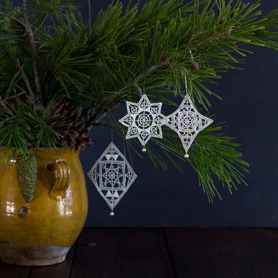 French Noël Ornaments - Tatted Lace
