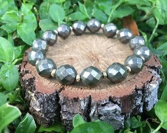 Dorothy Bracelet- Gray Pyrite(10mm) Gemstone Bracelet -Pyrite Jewelry -Gold and Pyrite Bracelet - Oliver Grey Jewelry - Boho Beaded Bracelet