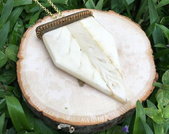 Long Boho White Carved Dagger Necklace- Bohemian Necklace- Engraved Bone Necklace- Long Chain- Oliver Grey Jewelry - Earthy Style Necklace