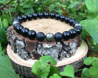 Men's Tucker Bracelet- Polished Onyx Agate(8mm) - handmade- beaded bracelet-oliver grey jewelry- Denver collection-  guys accessories