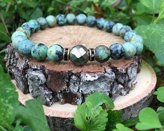 Men's Jeremy Bracelet- African Turquoise(8mm) - Pyrite - beaded bracelet-oliver grey jewelry- Denver collection-  guys accessories