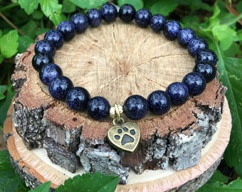 Love my dog- Blue Sandstone(8mm) Bracelet-Oliver Grey Jewelry - Puppy Charm - Stacking Bracelets - Gemstone Bracelet - Earthy Jewelry