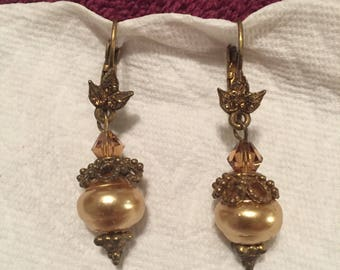 Vintage Imitation Pearl and Crystal Earrings Pierced