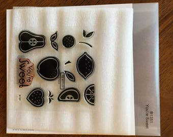 """Close to my Heart """"You'er Sweet"""" Fruit stamp set, my acrylix *UESED*"""