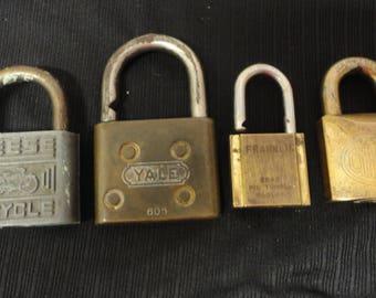 Lot of 4 Vintage Locks no keys Reese Yale Franklin Corbin Brass Steampunk
