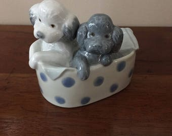 Vintage 1988 Lladro NAO Poodle Puppies In A Basket Glazed Figurine Made In Spain