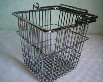 Basket in stainless steel, Vintage - French wire