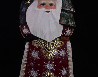 RUSSIAN WOODEN SANTA Hand Caved and Painted w/Bag on the Back and XTree in Hand #1041