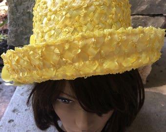 Vintage 1960's Woman's Straw Hat Lemon Yellow Summer Raffia Hat with Grosgrain Ribbon Formal Hat, Party Hat