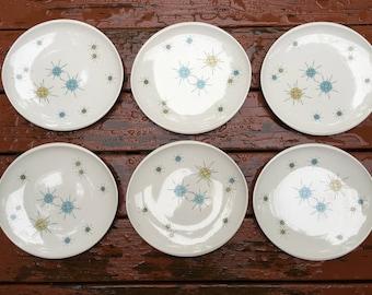 Franciscan Starburst Vintage 1950s Dinner Plates set of 6 Mid Century Modern Kitchen MCM