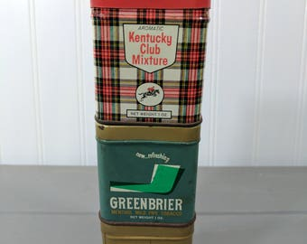 3 Vintage Kentucky Club Small Tobacco Tins, London Dock, Greenbrier and Kentucky Club Mixture Tobacco Tin, Made in USA, Tobacco Advertising