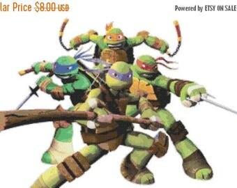 "mutant ninja turtles superheroes Counted Cross Stitch ninja turtles Pattern chart pdf file needlework -22.36"" x 14.43""- L772"