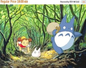 "Totoro Counted Cross Stitch totoro Pattern punto de cruz needlework kreuzstitch Miyazaki pattern - 17.71"" x 13.29"" - L1000"