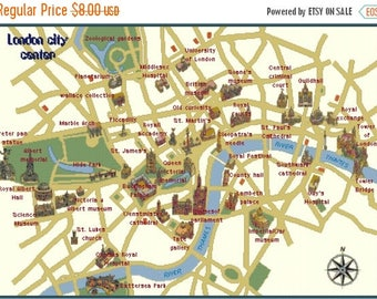 """map of london city Counted Cross Stitch map of london map easy cross stitch needlepoint kreuzstitch -32.07"""" x 22.79""""- L997"""