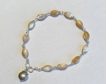 Natural Tridacna/Giant clam shell beads bracelet hand wrapped with sterling silver wire