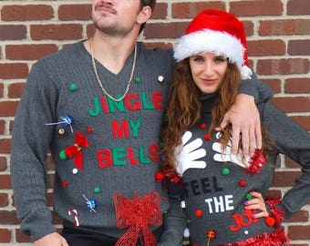 Ugly Christmas Sweater / Couples Ugly Christmas Sweater  /  Feel the Joy Sweater & Jingle My Bells / Ugly Christmas sweater party