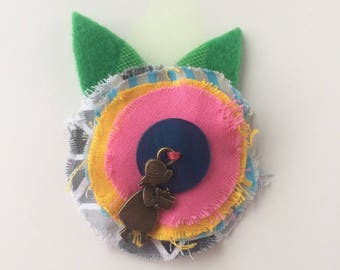 Kids hair clip pink flower and blue heart - textile brooch - hair jewelry