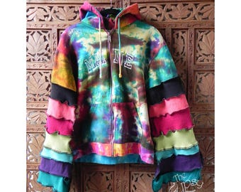 Tie Dye Hoodie Gypsy Boho Upcycled Redesigned Patchwork Hoodie Granny Square 'Rainbow Brite' Size Juniors Large by The Gypsy Fae