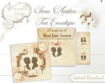 Jane Austen Printable Tea Envelope, INSTANT DOWNLOAD, Teabag Holder, Jane Austen Printable, Digital Collage Sheet, Pride and Prejudice