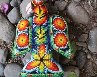 EAGLE carved wood handmade beaded by mexican Huichol artesans