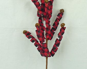 "30"" Buffalo Plaid Curly Spray w/ Rusty Bells/Wreath Supplies/Christmas Decoration/83101BUF"