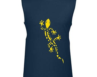 T-shirt men - sleeveless - Blue Navy - 100% cotton - IMORI GECKO
