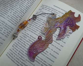 """Fall soul"" hand painted and engraved hand-made leather bookmark"