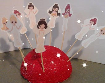 Bride...Groom... Cupcake Toppers...Wedding... Bridal Shower...Set of 12... Choice of one side or two sided pick