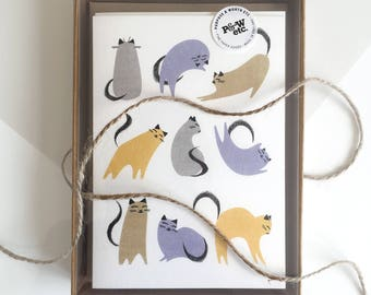Cat notecards, boxed set of 8 different designs, mix and match cat wrapping papers, cat cards, cat stationery