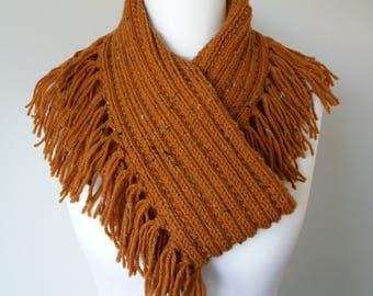 GetWoolly Fringed infinity scarf, shawl, tweed wool, rust, orange, tan, flecks, fringing, handknitted, Fishermans knit