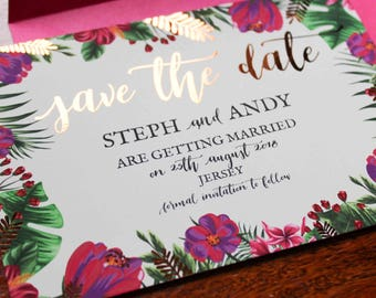 Rose gold foil tropical wedding save the dates with envelopes available in other colours!