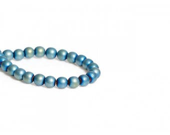 65 beads hematite 6mm blue green