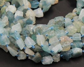 "Natural Rough Raw Aquamarine Beads Nuggets Freeform Nuggets Hammered Nuggets Organic Cut Beads 16"" Strand"