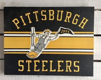 Hand Painted Vintage Styled Pittsburgh Steelers Sign