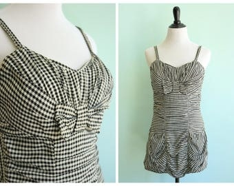 Vintage 1950's Black and White Gingham Swimsuit | Size Medium/Large