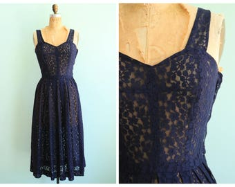 Vintage 1940's Midnight Blue Lace Dress | Size Extra Small
