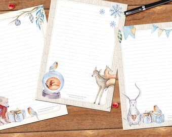 Winter Peace Art set - DOWNLOAD files - printable writing paper - A5 size - 3 designs