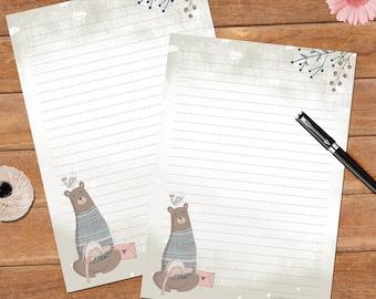Caring bear  - A5 size - 12 sheets