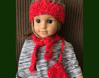 "18"" Doll Hat Set - Handmade Crochet Hat Scarf and Purse Set for American Girl Doll 18"" Doll - Item D19"