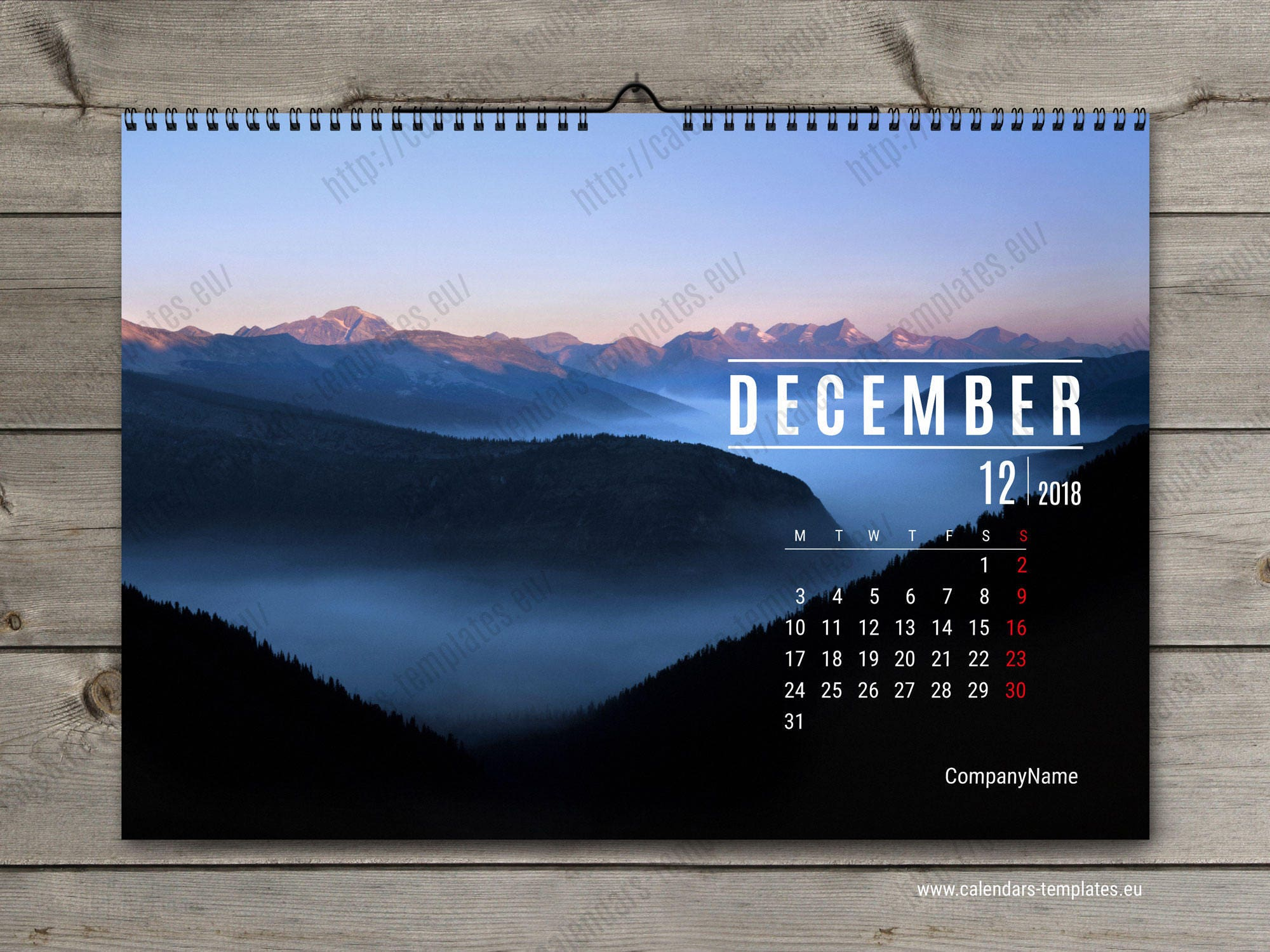 2018 horizontal wall calendar template custom photo wall. Black Bedroom Furniture Sets. Home Design Ideas