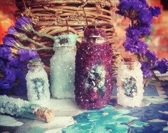 Large Crystal Healer's Apothecary Bottles