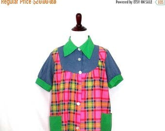 Funky Vintage 1970's Plaid Blouse Retro 70's Colorful Polka Dots Shirt Mod Patch Pocket Shirt Unique Handmade Colorblock Smock Top
