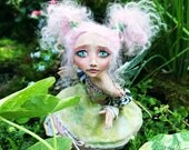 Reserved, Payment 3 of 3: Lily the Startled Little Fairy // Hand sculpted fairy art doll with pink hair, polymer clay doll, OOAK doll