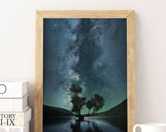 Starry Sky Photo, Stars Photo, Universe Photo, Purple, Blue, Galaxy, Sky Photo, Digital Photo, Digital Download, Kids Room Decor,Large Print