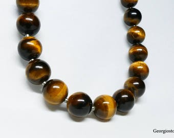 Made in Greece Tiger's Eye Golden Stone Necklace