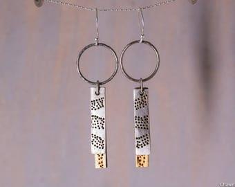 24k Gold Sterling Silver Layered Dot Earrings
