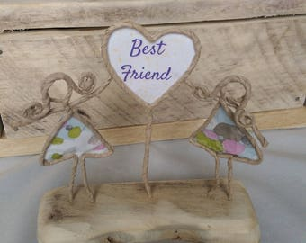 Wire paper sculpture reclaimed wood unusual gift  thank you vintage wood French art best friend
