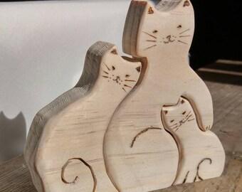 Wooden cats reclaimed vintage wood cat family cuddling kittens cat lover unusual gift living room decor nursery pets